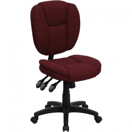 MFO Mid-Back Burgundy Fabric Multi-Functional Ergonomic Task Chair