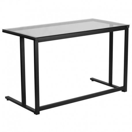 MFO Glass Desk with Black Pedestal Frame