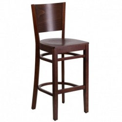 MFO Chimera Collection Solid Back Walnut Wooden Restaurant Barstool