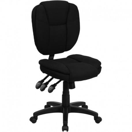 MFO Mid-Back Black Fabric Multi-Functional Ergonomic Task Chair