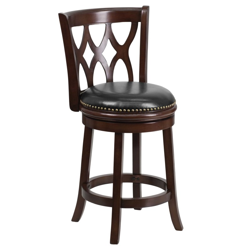 mfo 24 39 39 cappuccino wood counter height stool with black leather swivel seat. Black Bedroom Furniture Sets. Home Design Ideas