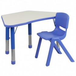 MFO Blue Trapezoid Plastic Activity Table Configuration with 1 School Stack Chair