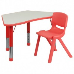 MFO Red Trapezoid Plastic Activity Table Configuration with 1 School Stack Chair