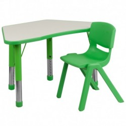 MFO Green Trapezoid Plastic Activity Table Configuration with 1 School Stack Chair