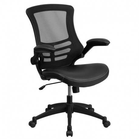 MFO Mid-Back Black Mesh Chair with Leather Seat and Nylon Base