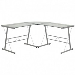 MFO Glass L-Shape Computer Desk with Silver Frame Finish