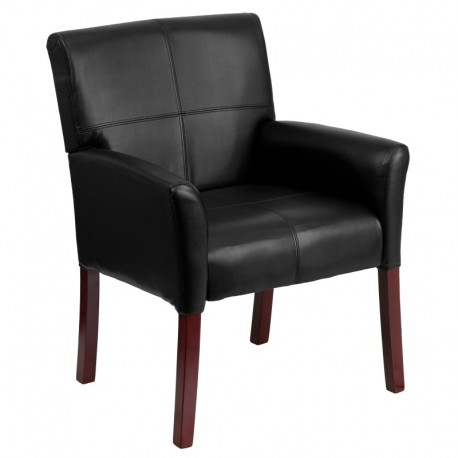 MFO Black Leather Executive Side Chair or Reception Chair with Mahogany Legs