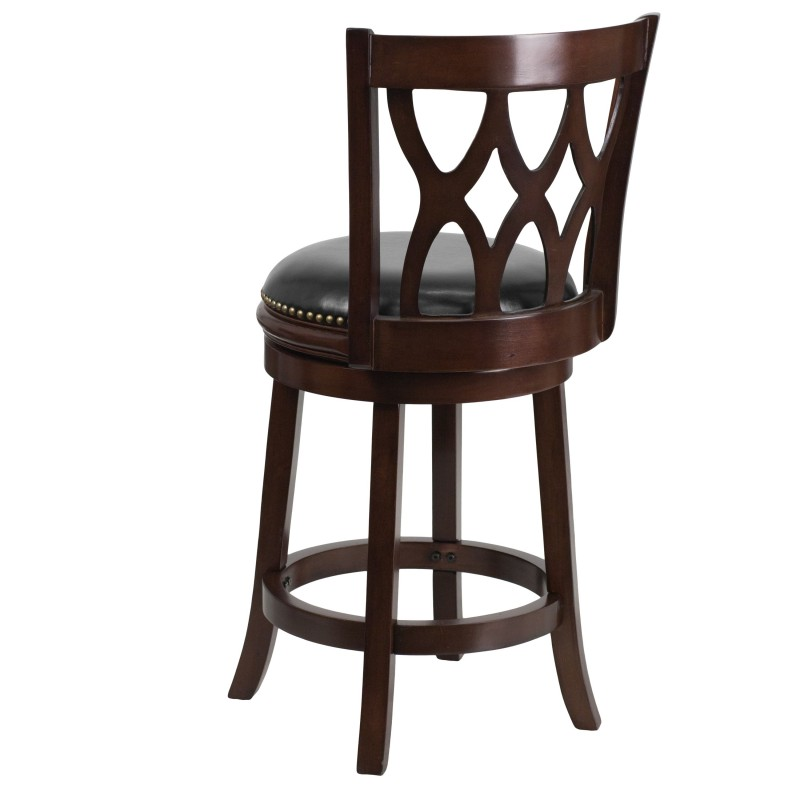 Black Leather Bar Stools Counter Height Mfo 24 Cappuccino