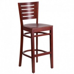 MFO Fervent Collection Slat Back Mahogany Wooden Restaurant Barstool