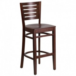 MFO Fervent Collection Slat Back Walnut Wooden Restaurant Barstool