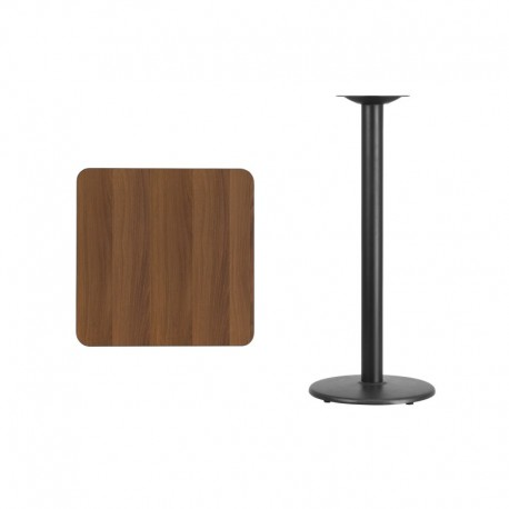MFO 24'' Square Walnut Laminate Table Top with 18'' Round Bar Height Table Base