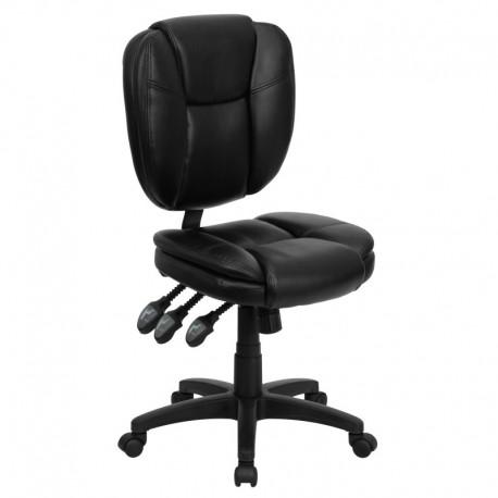 MFO Mid-Back Black Leather Multi-Functional Ergonomic Task Chair