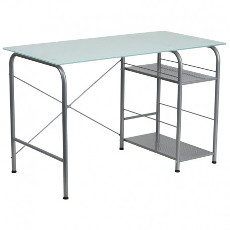 MFO Glass Computer Desk with Open Storage