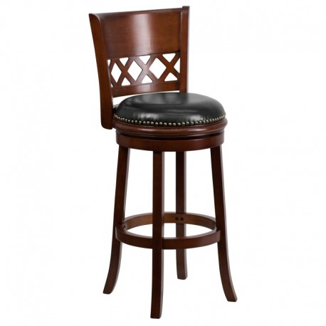 MFO 29'' Cherry Wood Bar Stool with Black Leather Swivel Seat