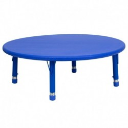 MFO 45'' Round Height Adjustable Blue Plastic Activity Table