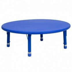 MFO 45'' Round Height Adjustable Blue Plastic Activity Table
