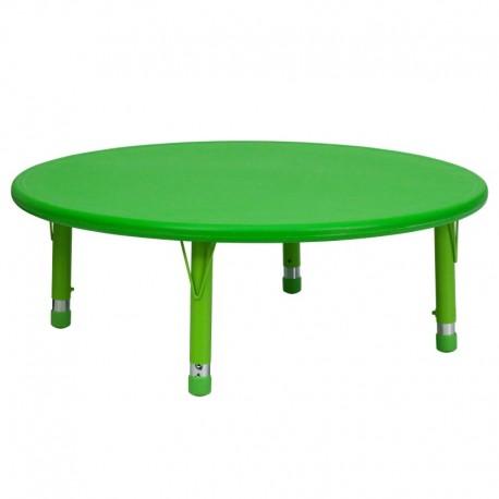 MFO 45'' Round Height Adjustable Green Plastic Activity Table