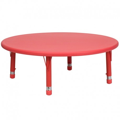 MFO 45'' Round Height Adjustable Red Plastic Activity Table
