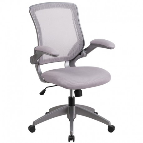 MFO Mid-Back Gray Mesh Task Chair with Flip-Up Arms