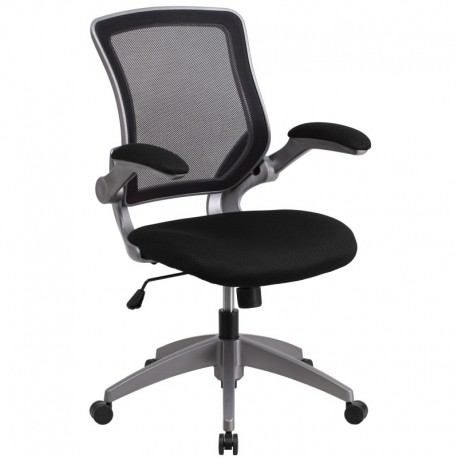 MFO Mid-Back Black Mesh Task Chair with Flip-Up Arms