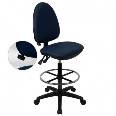MFO Mid-Back Navy Blue Fabric Multi-Functional Drafting Stool with Adjustable Lumbar Support