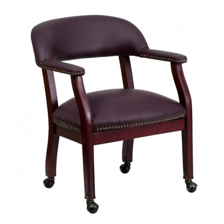 MFO Burgundy Leather Conference Chair with Casters