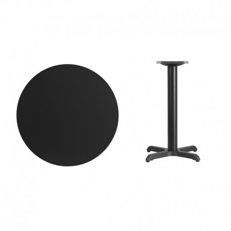 MFO 30'' Round Black Laminate Table Top with 22'' x 22'' Table Height Base