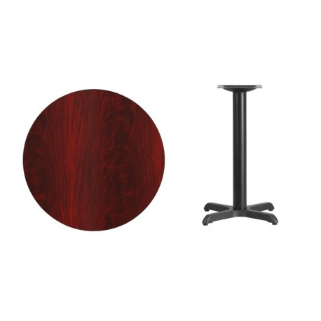 MFO 30'' Round Mahogany Laminate Table Top with 22'' x 22'' Table Height Base