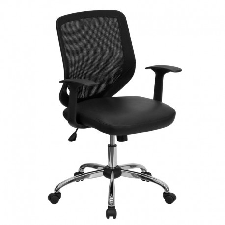 MFO Mid-Back Black Office Chair with Mesh Back and Leather Seat