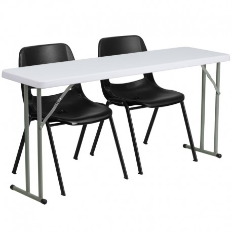 MFO 18'' x 60'' Plastic Folding Training Table with 2 Black Plastic Stack Chairs