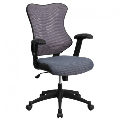 MFO High Back Gray Mesh Chair with Nylon Base