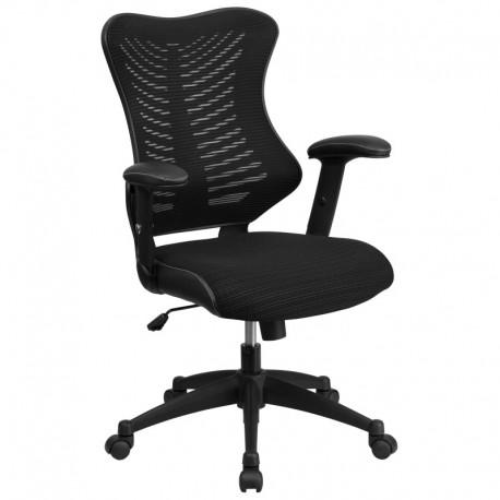 MFO High Back Black Mesh Chair with Nylon Base