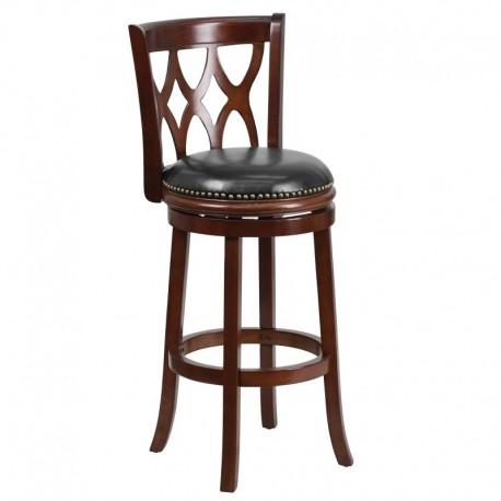 MFO 29'' Cherry Wood Bar Stool with Black Leather Swivel Seat