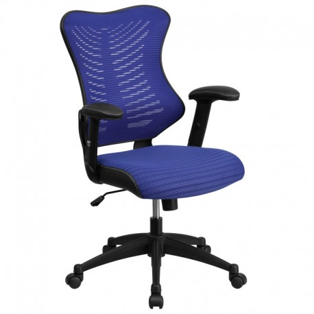 MFO High Back Blue Mesh Chair with Nylon Base