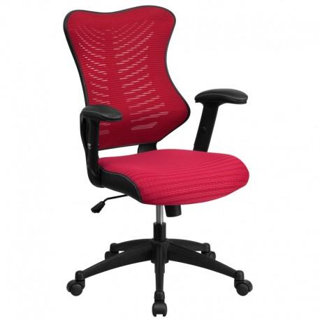 MFO High Back Burgundy Mesh Chair with Nylon Base