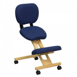 MFO Mobile Wooden Ergonomic Kneeling Posture Chair in Navy Blue Fabric with Reclining Back
