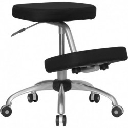 MFO Mobile Ergonomic Kneeling Chair in Black Fabric with Silver Powder Coated Frame