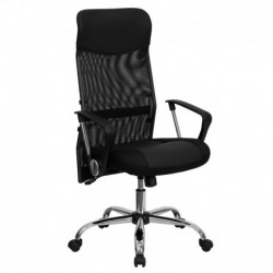 MFO High Back Black Split Leather Chair with Mesh Back