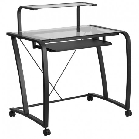MFO Mobile Glass Computer Desk with Pull-Out Keyboard Tray and Monitor Platform