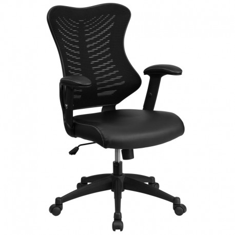 MFO High Back Black Mesh Chair with Leather Seat and Nylon Base