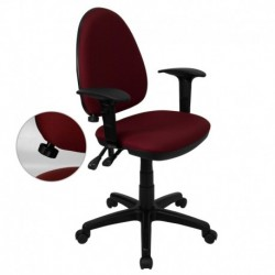 MFO Mid-Back Burgundy Fabric Multi-Functional Task Chair with Arms and Adjustable Lumbar Support