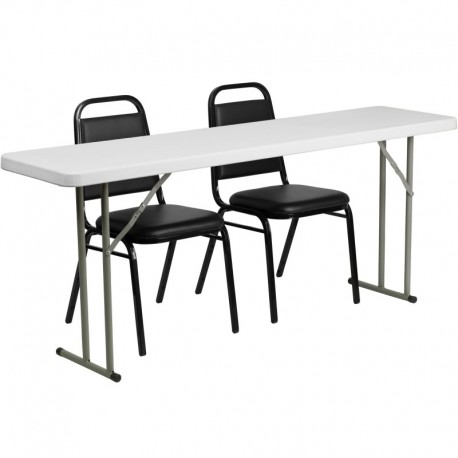 MFO 18'' x 72'' Plastic Folding Training Table with 2 Trapezoidal Back Stack Chairs