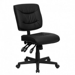 MFO Mid-Back Black Leather Multi-Functional Task Chair