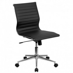 MFO Mid-Back Armless Black Ribbed Upholstered Leather Conference Chair