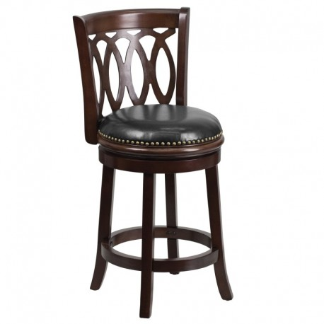 MFO 24'' Cappuccino Wood Counter Height Stool with Black Leather Swivel Seat