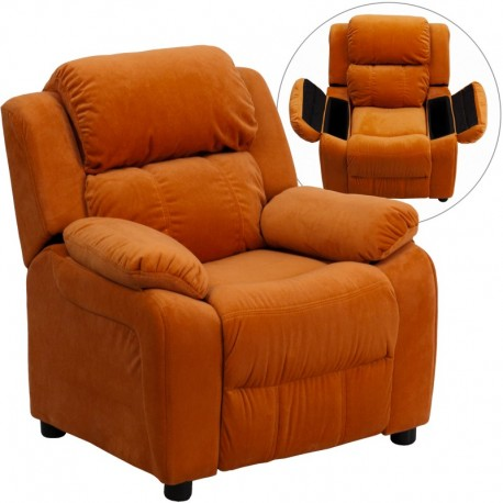 MFO Deluxe Padded Contemporary Orange Microfiber Kids Recliner with Storage Arms