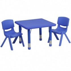 MFO 24'' Square Adjustable Blue Plastic Activity Table Set with 2 School Stack Chairs