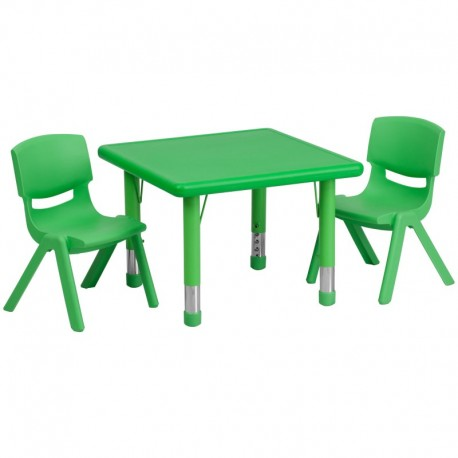 MFO 24'' Square Adjustable Green Plastic Activity Table Set with 2 School Stack Chairs