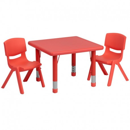 MFO 24'' Square Adjustable Red Plastic Activity Table Set with 2 School Stack Chairs