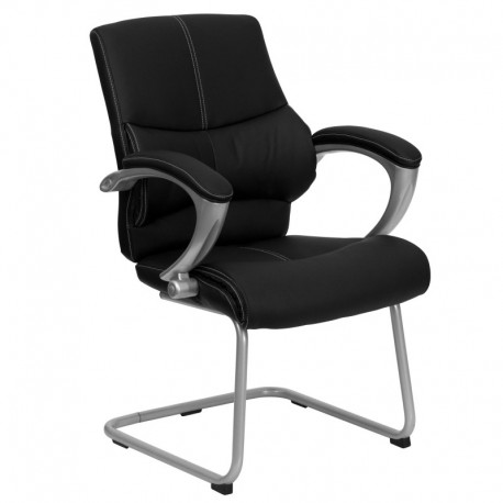 MFO Black Leather Executive Side Chair